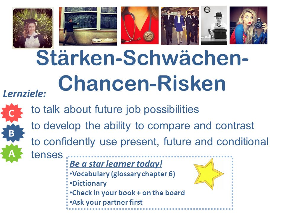 Stärken-Schwächen- Chancen-Risken Lernziele: to talk about future job possibilities to develop the ability to compare and contrast to confidently use present, future and conditional tenses C B A Be a star learner today.
