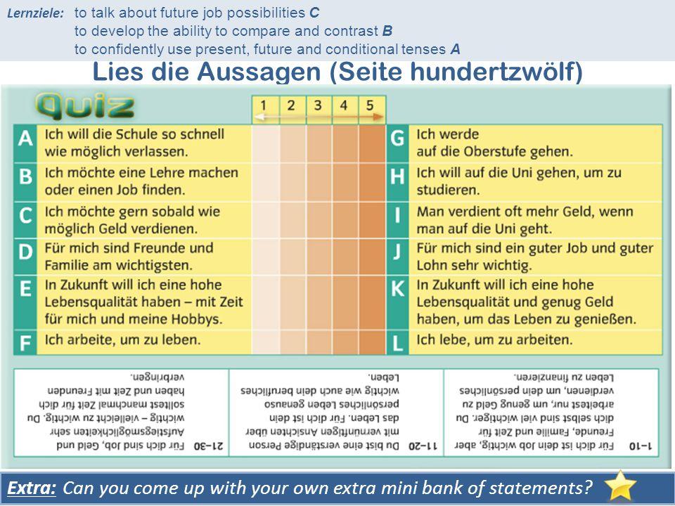 Lies die Aussagen (Seite hundertzwölf) Wähle die Nummer, die am besten zu dir passt.