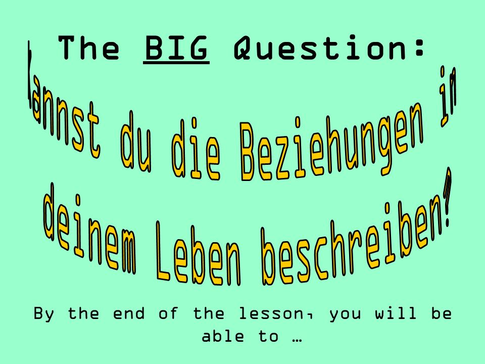 The BIG Question: By the end of the lesson, you will be able to …