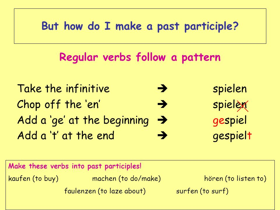 But how do I make a past participle? Regular verbs follow a pattern Take the infinitive spielen Chop off the en spielen Add a ge at the beginning gesp