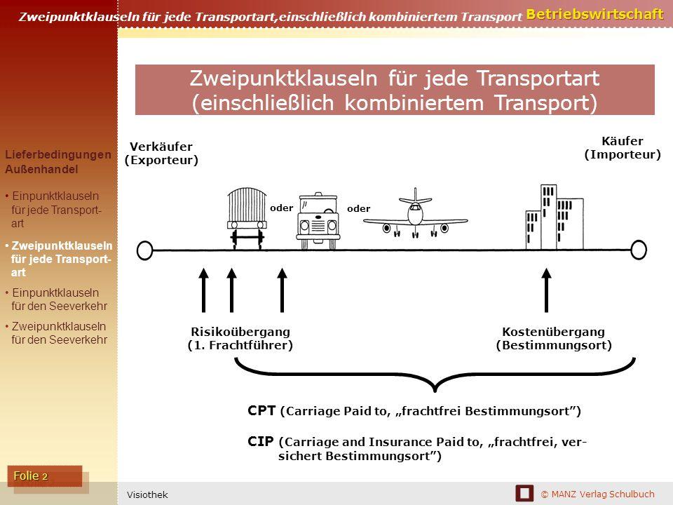 © MANZ Verlag Schulbuch Betriebswirtschaft Folie 2 Visiothek Zweipunktklauseln für jede Transportart,einschließlich kombiniertem Transport Verkäufer (Exporteur) Käufer (Importeur) Risikoübergang (1.