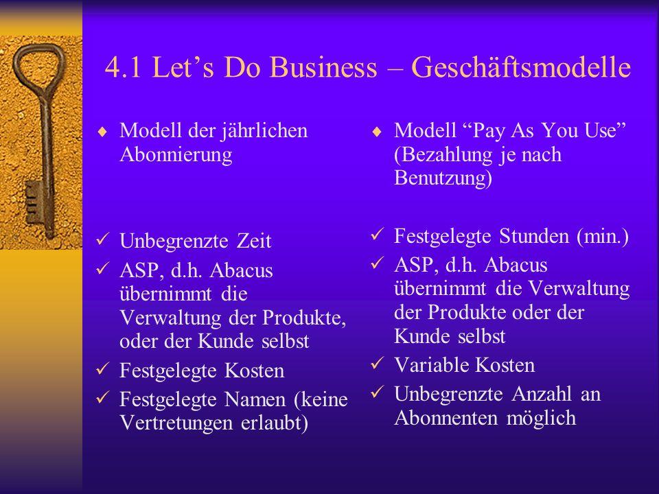 4.1 Lets Do Business – Geschäftsmodelle Modell der jährlichen Abonnierung Unbegrenzte Zeit ASP, d.h.