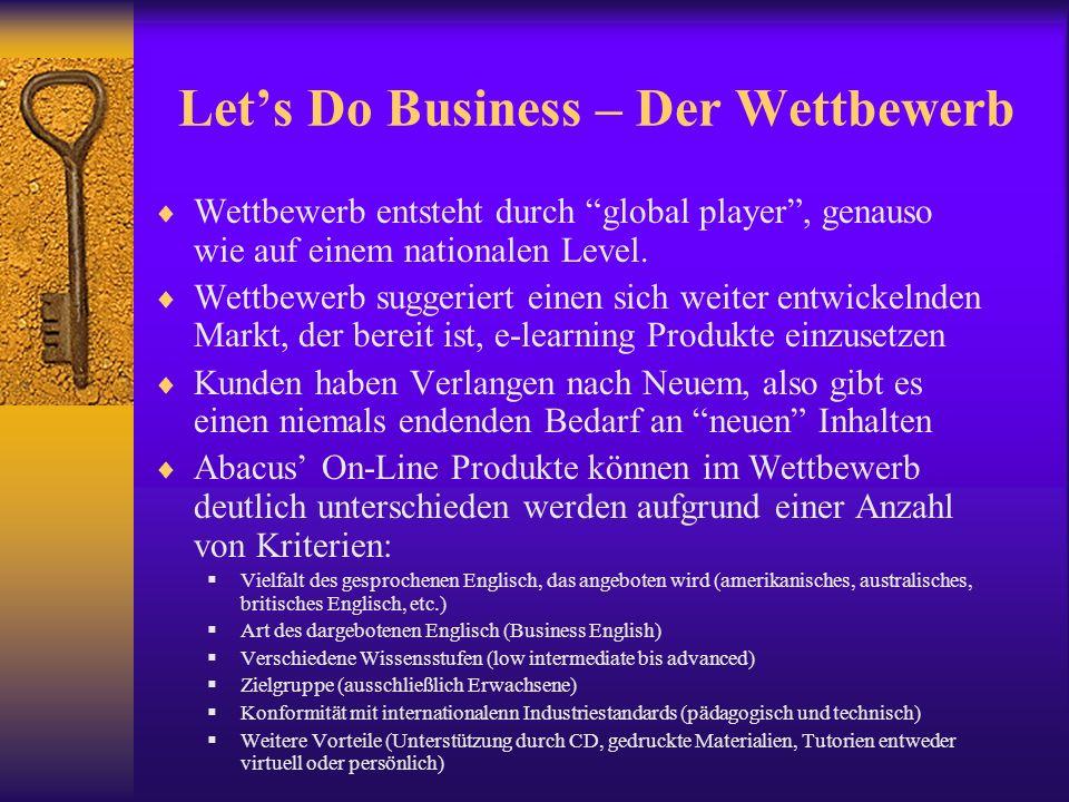 Lets Do Business – Der Wettbewerb Wettbewerb entsteht durch global player, genauso wie auf einem nationalen Level.