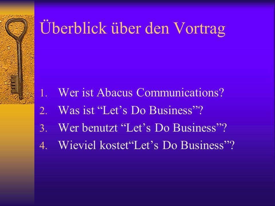 Überblick über den Vortrag 1. Wer ist Abacus Communications.