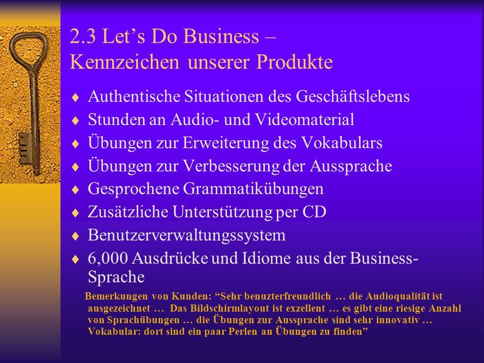 2.3 Lets Do Business – Kennzeichen unserer Produkte Authentische Situationen des Geschäftslebens Stunden an Audio- und Videomaterial Übungen zur Erweiterung des Vokabulars Übungen zur Verbesserung der Aussprache Gesprochene Grammatikübungen Zusätzliche Unterstützung per CD Benutzerverwaltungssystem 6,000 Ausdrücke und Idiome aus der Business- Sprache Bemerkungen von Kunden: Sehr benuzterfreundlich … die Audioqualität ist ausgezeichnet … Das Bildschirmlayout ist exzellent … es gibt eine riesige Anzahl von Sprachübungen … die Übungen zur Aussprache sind sehr innovativ … Vokabular: dort sind ein paar Perlen an Übungen zu finden