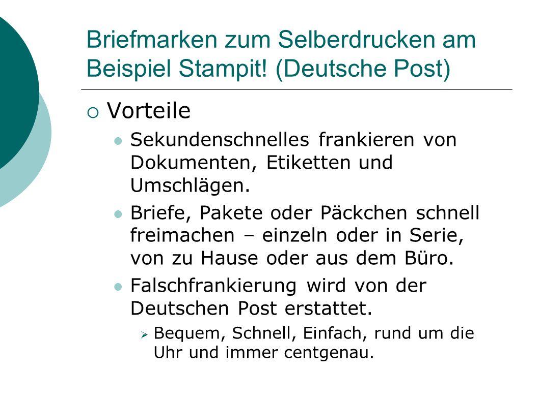 Briefmarken zum Selberdrucken am Beispiel Stampit.