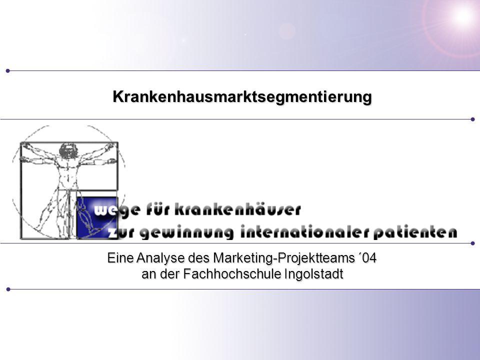 Seite 1 Eine Analyse des Marketing-Projektteams ´04 an der Fachhochschule Ingolstadt Krankenhausmarktsegmentierung