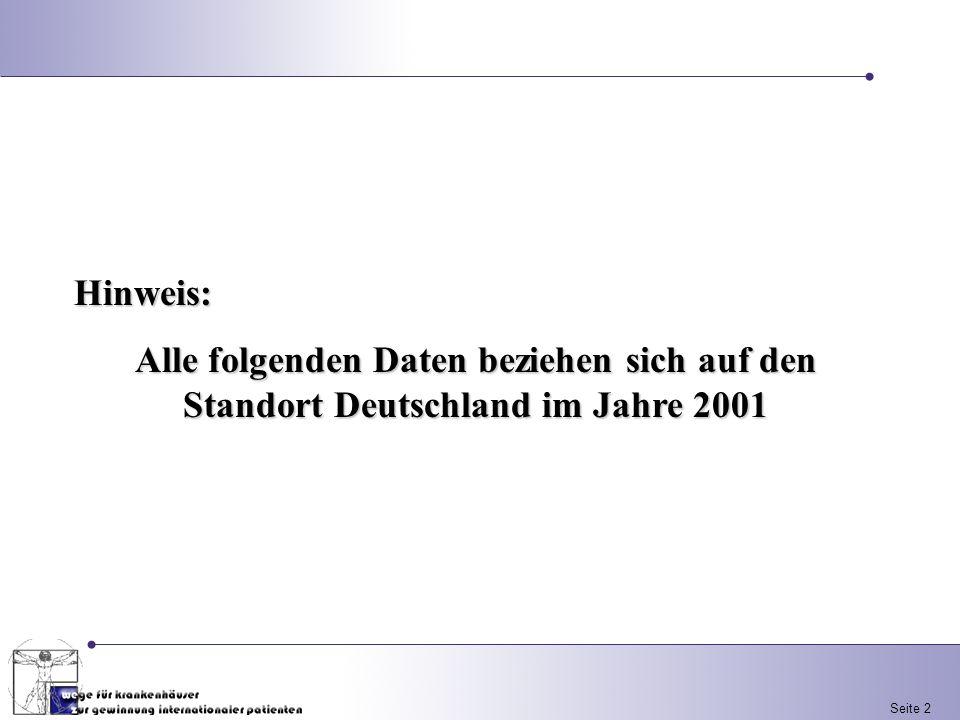 Seite 2 Hinweis: Alle folgenden Daten beziehen sich auf den Standort Deutschland im Jahre 2001