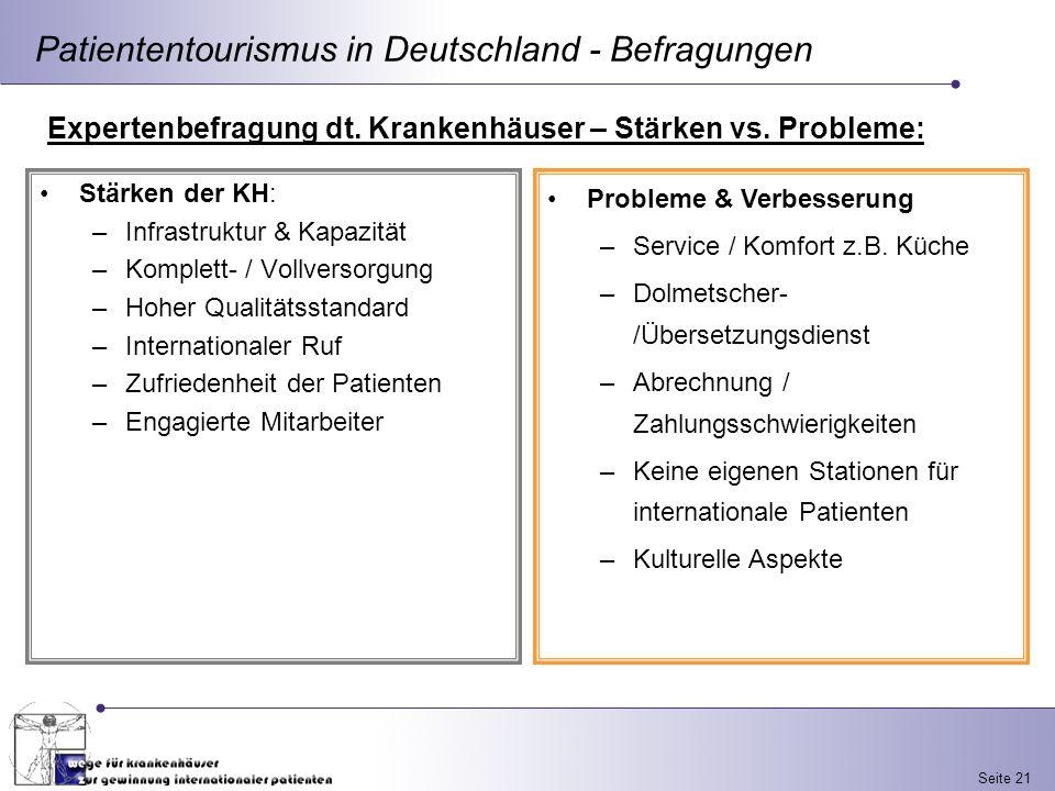 Seite 21 Patiententourismus in Deutschland - Befragungen Expertenbefragung dt. Krankenhäuser – Stärken vs. Probleme: Stärken der KH: –Infrastruktur &