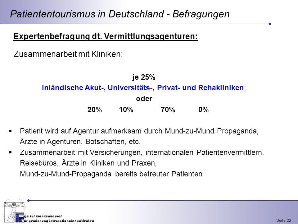 Seite 22 Patiententourismus in Deutschland - Befragungen Expertenbefragung dt. Vermittlungsagenturen: je 25% Inländische Akut-, Universitäts-, Privat-