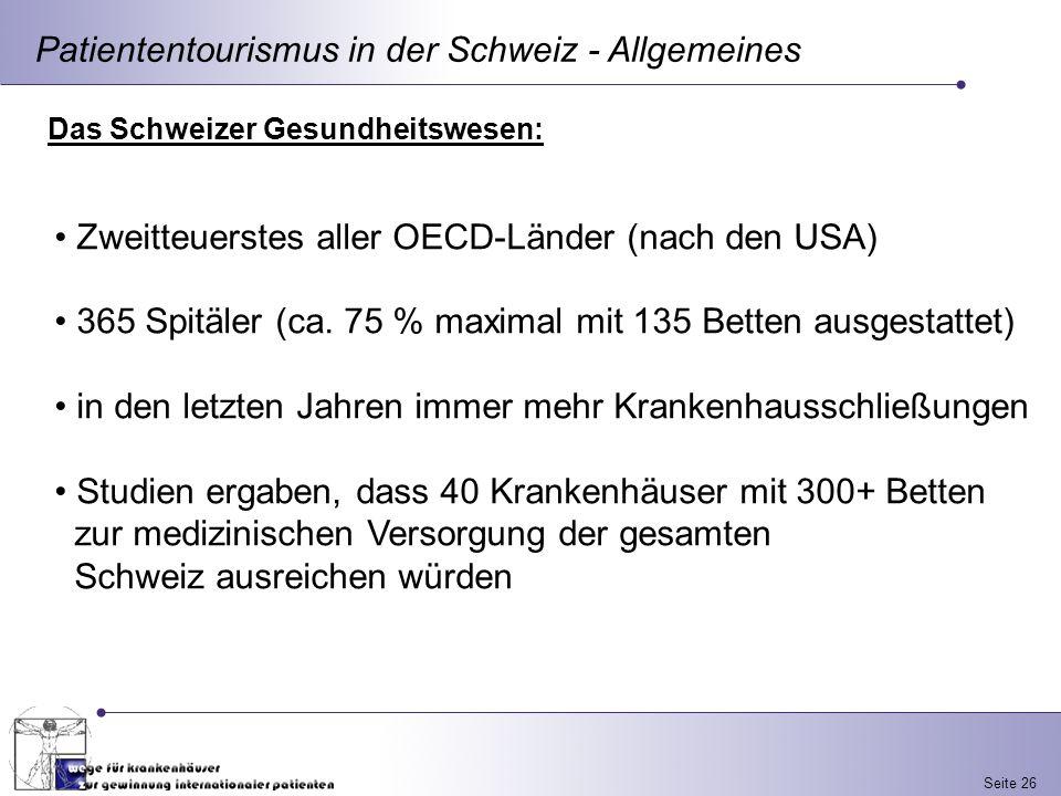 Seite 26 Patiententourismus in der Schweiz - Allgemeines Das Schweizer Gesundheitswesen: Zweitteuerstes aller OECD-Länder (nach den USA) 365 Spitäler