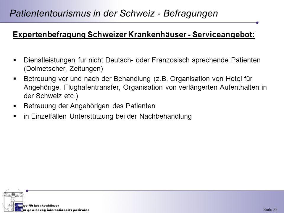 Seite 28 Patiententourismus in der Schweiz - Befragungen Expertenbefragung Schweizer Krankenhäuser - Serviceangebot: Dienstleistungen für nicht Deutsc