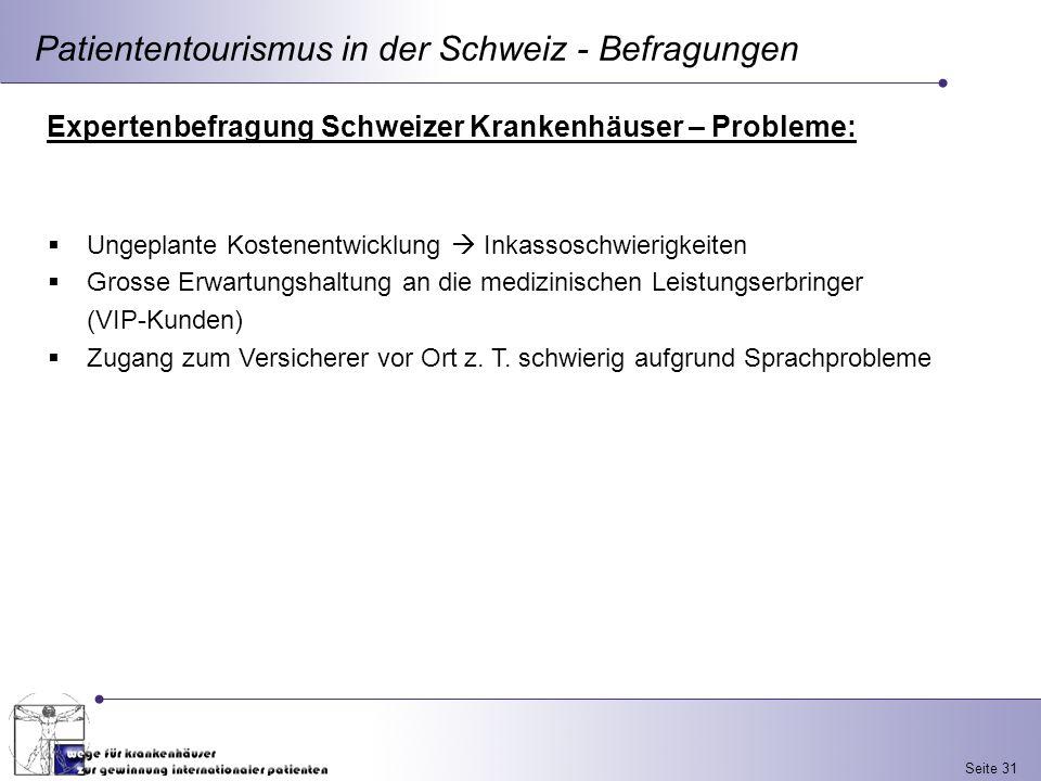 Seite 31 Patiententourismus in der Schweiz - Befragungen Expertenbefragung Schweizer Krankenhäuser – Probleme: Ungeplante Kostenentwicklung Inkassosch