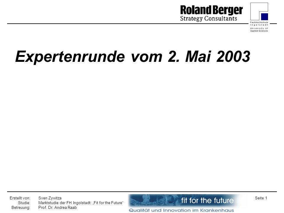 Erstellt von: Studie: Betreuung: Sven Zywitza Marktstudie der FH Ingolstadt: Fit for the Future Prof. Dr. Andrea Raab Seite 1 Expertenrunde vom 2. Mai