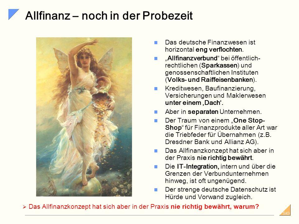SiG Allfinanz – noch in der Probezeit Das deutsche Finanzwesen ist horizontal eng verflochten.