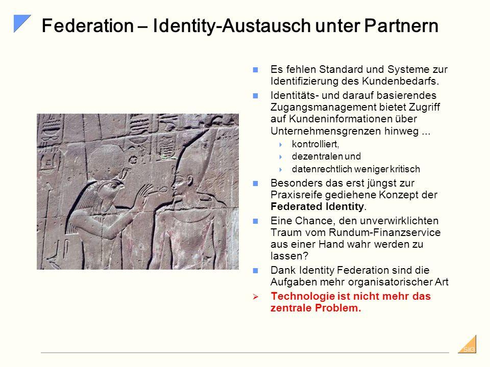 SiG Federation – Identity-Austausch unter Partnern Es fehlen Standard und Systeme zur Identifizierung des Kundenbedarfs.