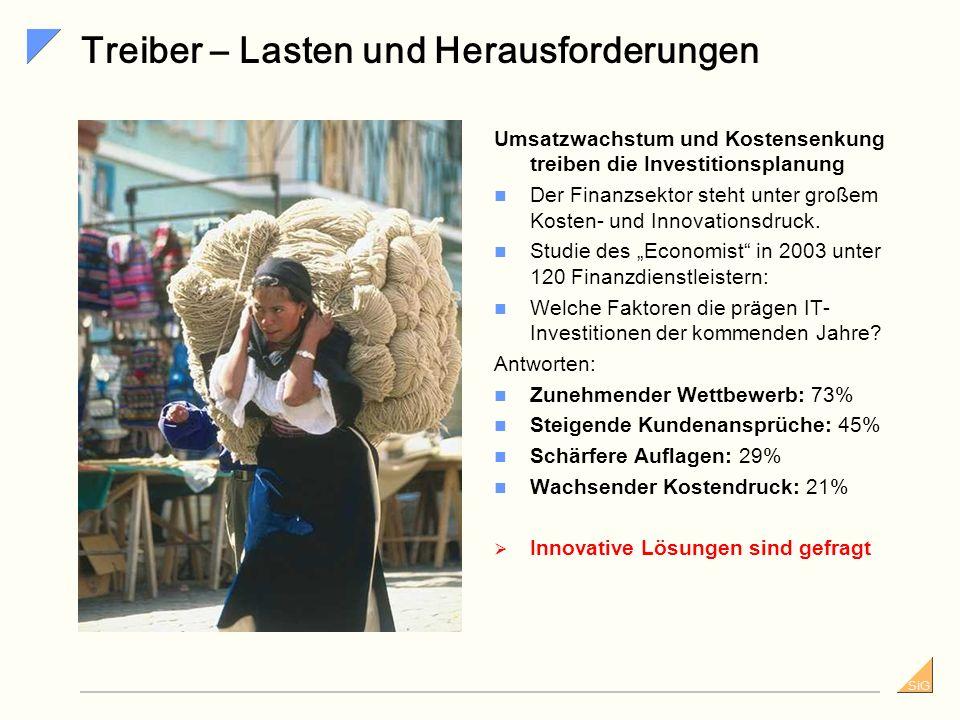 SiG Treiber – Lasten und Herausforderungen Umsatzwachstum und Kostensenkung treiben die Investitionsplanung Der Finanzsektor steht unter großem Kosten- und Innovationsdruck.