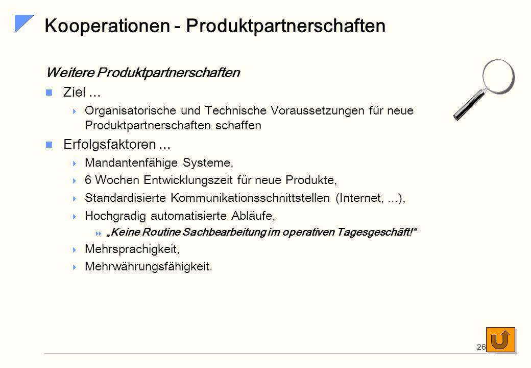 SiG 25 Kooperationen - Vertriebspartnerschaften Weitere Vertriebspartnerschaften Ziel... Organisatorische und Technische Voraussetzungen für neue Vert