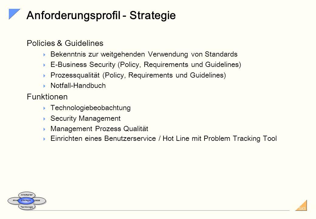 SiG Anforderungsprofil - Technologie Infrastruktur... Systeme für eine effektive Benutzer- und Identitätsverwaltung Systeme für die Sicherheitsüberwac