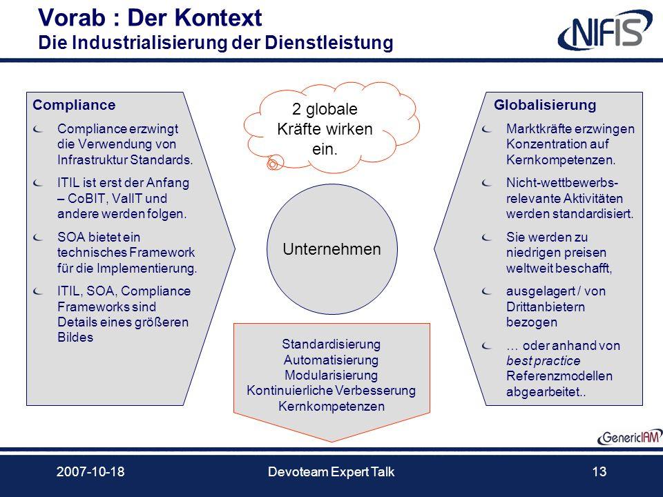 2007-10-18Devoteam Expert Talk13 Vorab : Der Kontext Die Industrialisierung der Dienstleistung Compliance Compliance erzwingt die Verwendung von Infra