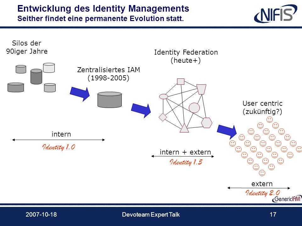 2007-10-18Devoteam Expert Talk17 Entwicklung des Identity Managements Seither findet eine permanente Evolution statt. Silos der 90iger Jahre Zentralis