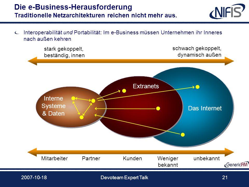 2007-10-18Devoteam Expert Talk21 Die e-Business-Herausforderung Traditionelle Netzarchitekturen reichen nicht mehr aus. Interoperabilität und Portabil