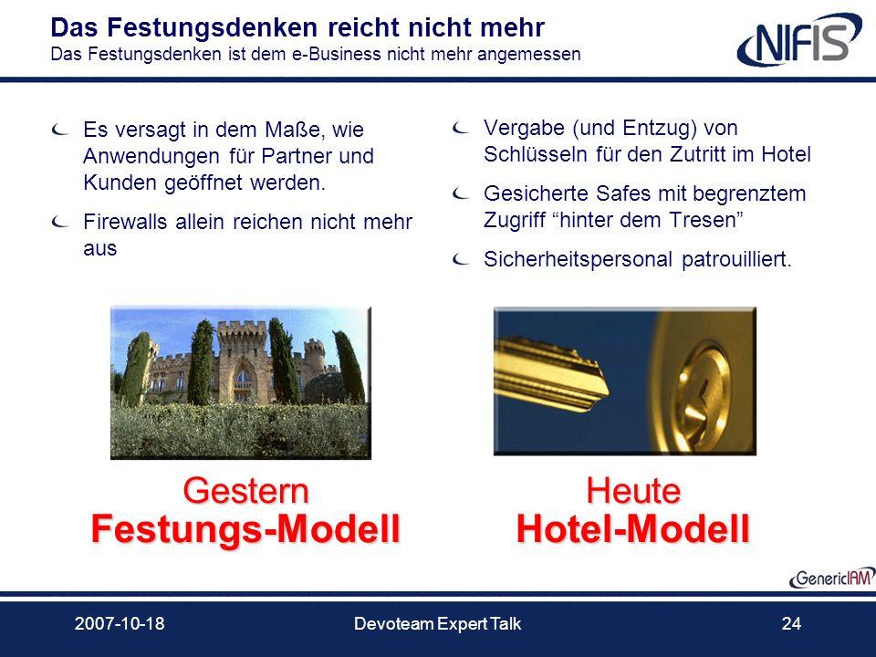 2007-10-18Devoteam Expert Talk24 Gestern Festungs-Modell Heute Hotel-Modell Das Festungsdenken reicht nicht mehr Das Festungsdenken ist dem e-Business