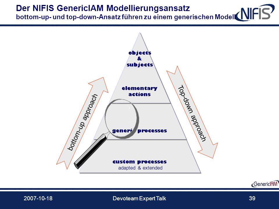 2007-10-18Devoteam Expert Talk39 custom processes adapted & extended Der NIFIS GenericIAM Modellierungsansatz bottom-up- und top-down-Ansatz führen zu