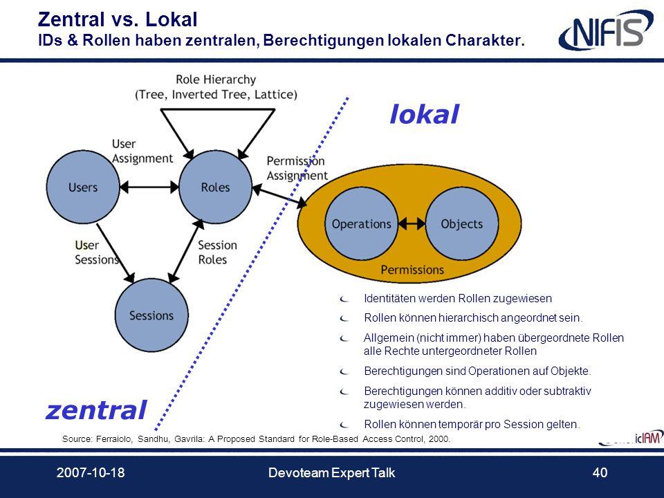 2007-10-18Devoteam Expert Talk40 Zentral vs. Lokal IDs & Rollen haben zentralen, Berechtigungen lokalen Charakter. Identitäten werden Rollen zugewiese