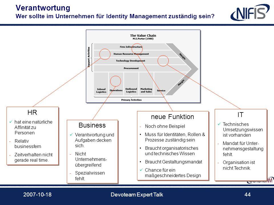 2007-10-18Devoteam Expert Talk44 Verantwortung Wer sollte im Unternehmen für Identity Management zuständig sein? HR hat eine natürliche Affinität zu P