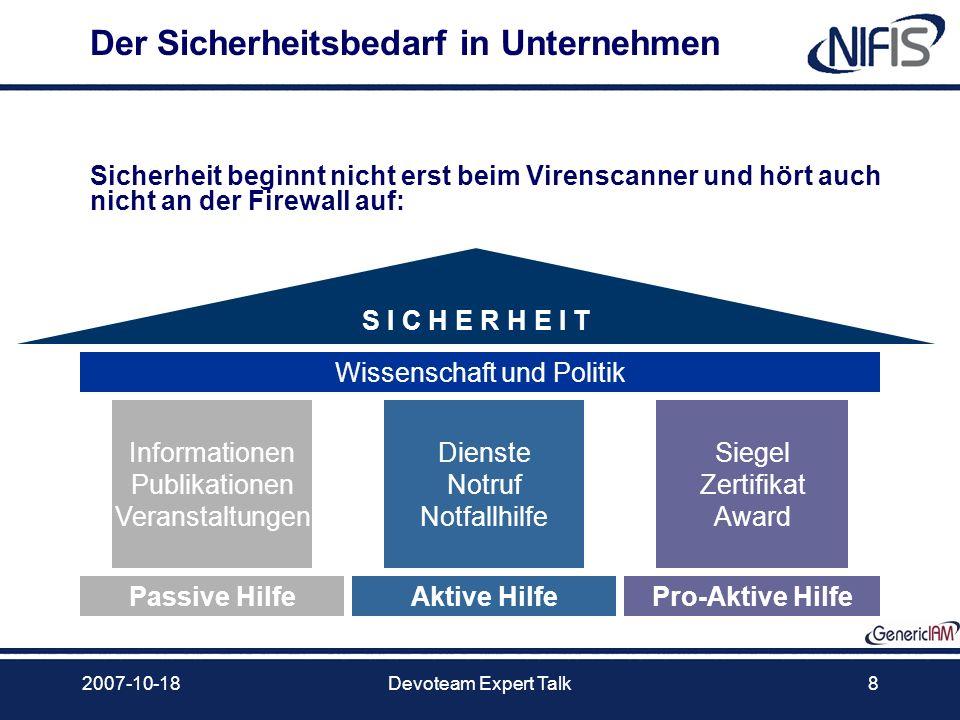 2007-10-18Devoteam Expert Talk8 Der Sicherheitsbedarf in Unternehmen Informationen Publikationen Veranstaltungen S I C H E R H E I T Passive HilfeAkti