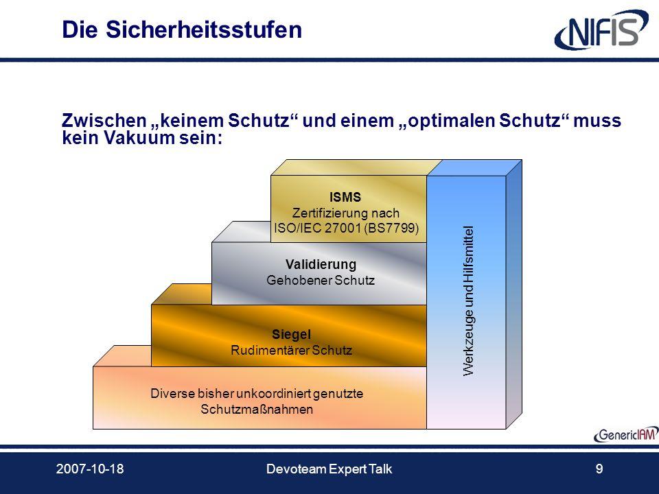 2007-10-18Devoteam Expert Talk9 Die Sicherheitsstufen Validierung Gehobener Schutz ISMS Zertifizierung nach ISO/IEC 27001 (BS7799) Siegel Rudimentärer