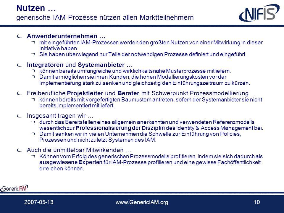 2007-05-13www.GenericIAM.org9 Zielgruppe Für wen ist GenericIAM interessant? Die Initiative GenericIAM ist für jedes Unternehmen und jede Einzelperson