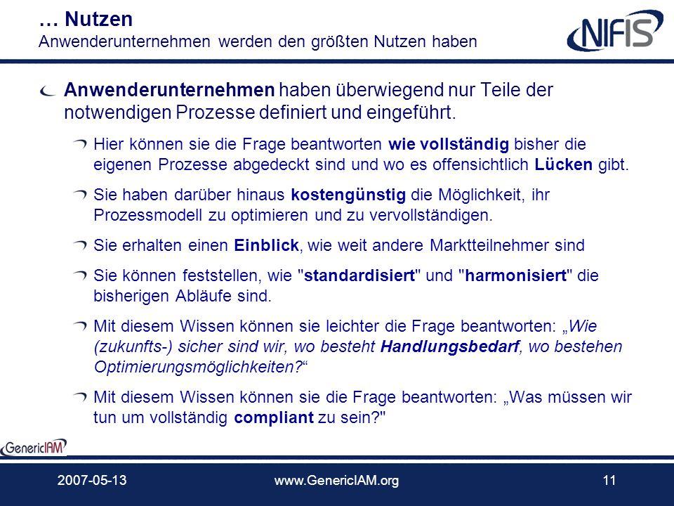 2007-05-13www.GenericIAM.org10 Nutzen … generische IAM-Prozesse nützen allen Marktteilnehmern Anwenderunternehmen … mit eingeführten IAM-Prozessen wer