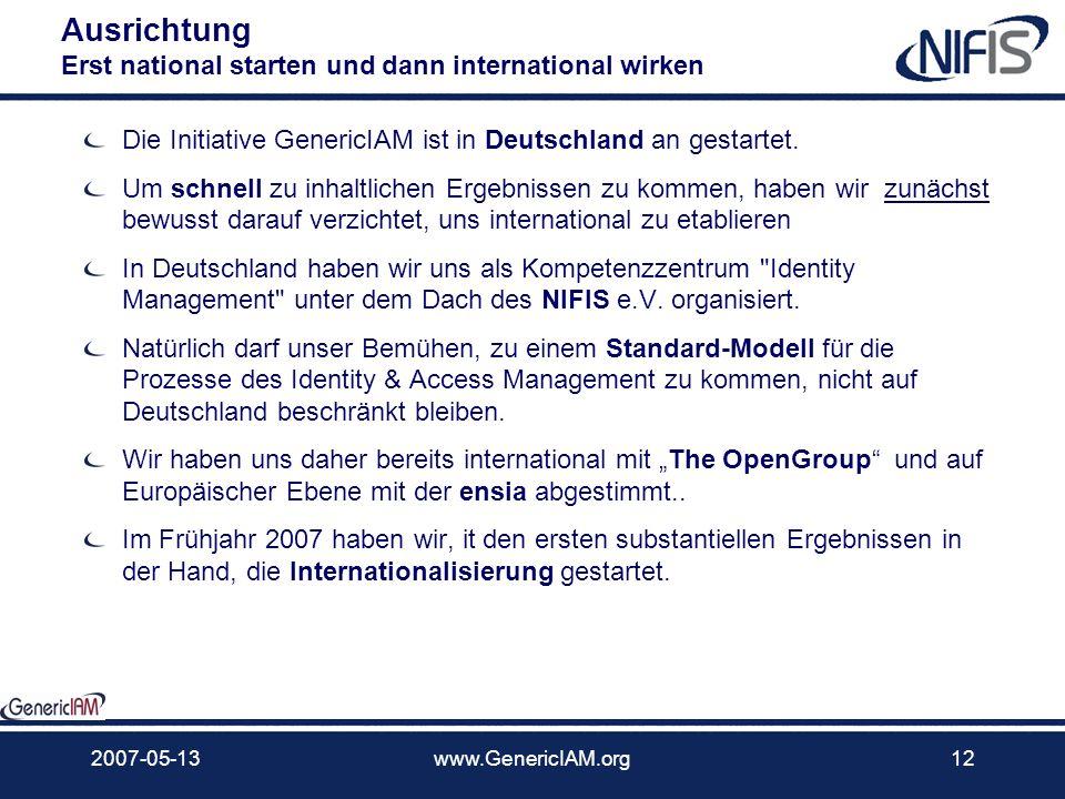 2007-05-13www.GenericIAM.org11 … Nutzen Anwenderunternehmen werden den größten Nutzen haben Anwenderunternehmen haben überwiegend nur Teile der notwen