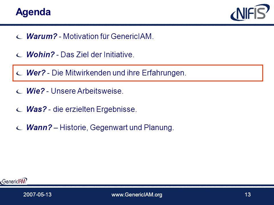 2007-05-13www.GenericIAM.org12 Ausrichtung Erst national starten und dann international wirken Die Initiative GenericIAM ist in Deutschland an gestart