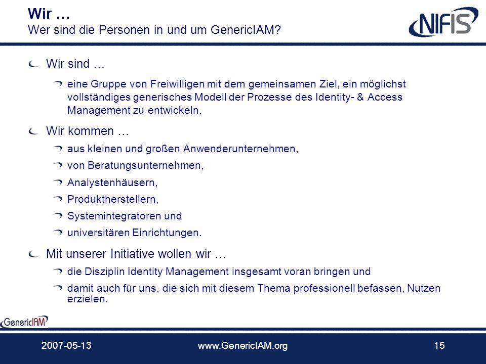 2007-05-13www.GenericIAM.org14 elemente Wir … Wer sind die Personen in und um GenericIAM? Aktuelle Mitglieder Anwender, Analysten, Berater, Hersteller