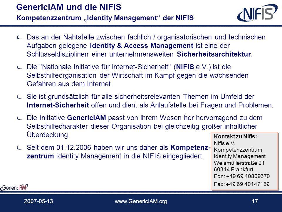 2007-05-13www.GenericIAM.org16 Aktuelle Mitglieder Anwender, Analysten, Berater, Hersteller und Integratoren as of 2007-05-13: