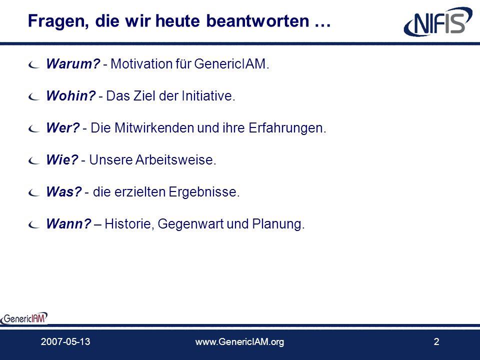 GenericIAM Neues zu generischen IdM-Prozessen Die bottom-up Modellierung vs. Top-down Ansatz Version 1.1 2007-09-27, Dr. Horst Walther Digital ID Worl