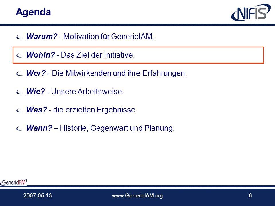 2007-05-13www.GenericIAM.org5 Kontext Die Industrialisierung der Dienstleistung Wir glauben, Teil einer größeren Bewegung zu sein ITIL, SOA, Complianc