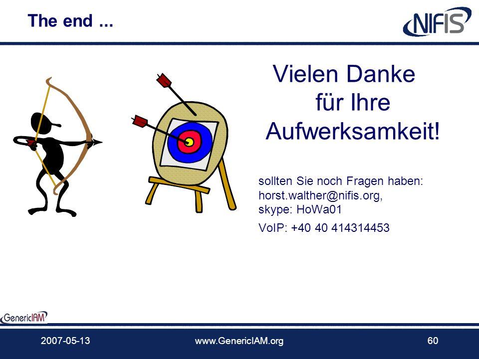 2007-05-13www.GenericIAM.org59 Fragen – Kommentare - Beiträge?