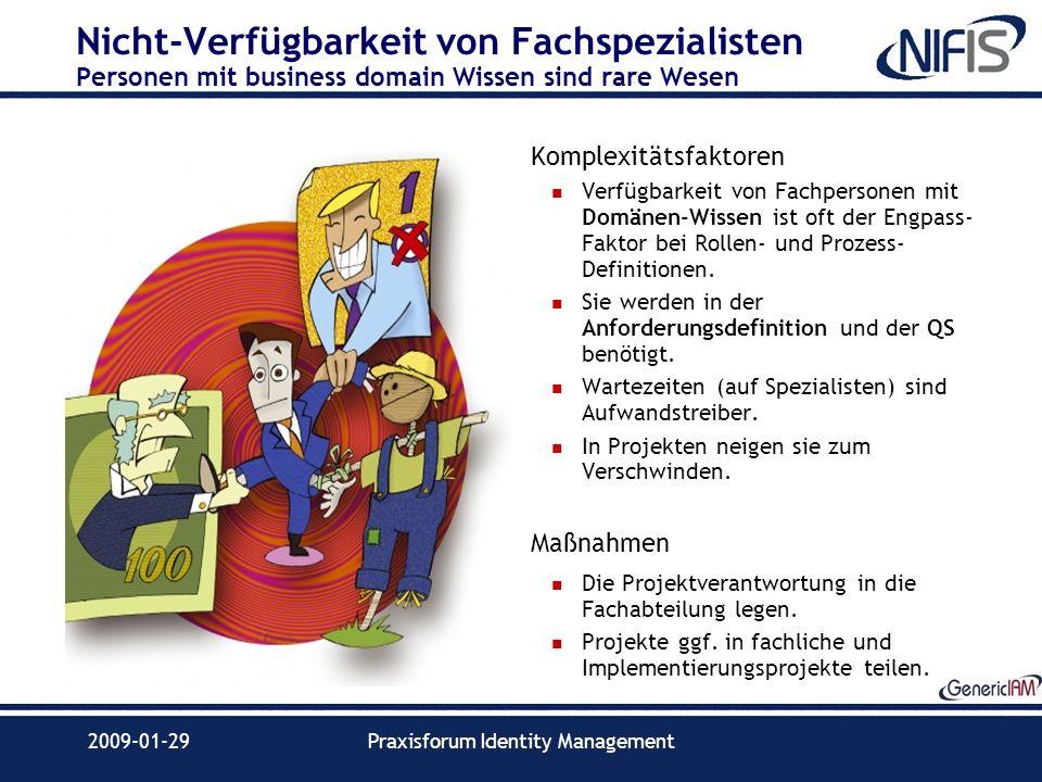 2009-01-29Praxisforum Identity Management Nicht-Verfügbarkeit von Fachspezialisten Personen mit business domain Wissen sind rare Wesen Komplexitätsfak