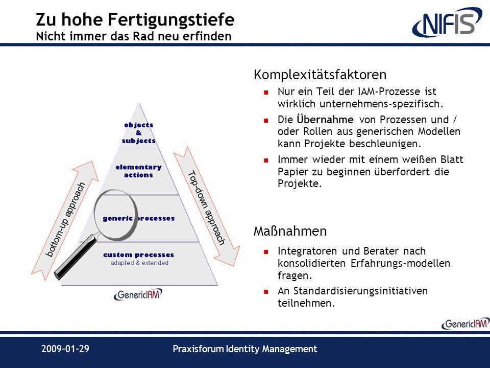 2009-01-29Praxisforum Identity Management Zu hohe Fertigungstiefe Nicht immer das Rad neu erfinden Komplexitätsfaktoren Nur ein Teil der IAM-Prozesse