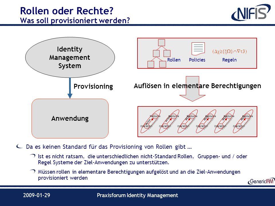 2009-01-29Praxisforum Identity Management Rollen oder Rechte? Was soll provisioniert werden? Da es keinen Standard für das Provisioning von Rollen gib