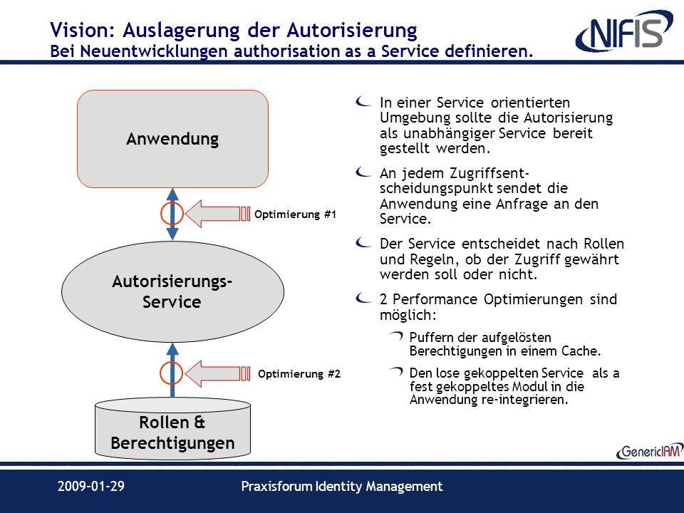 2009-01-29Praxisforum Identity Management Vision: Auslagerung der Autorisierung Bei Neuentwicklungen authorisation as a Service definieren. In einer S