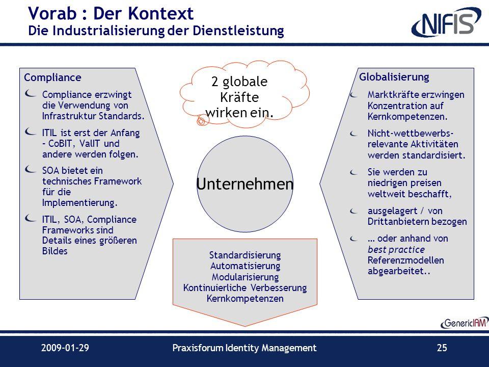 2009-01-29Praxisforum Identity Management25 Vorab : Der Kontext Die Industrialisierung der Dienstleistung Compliance Compliance erzwingt die Verwendun