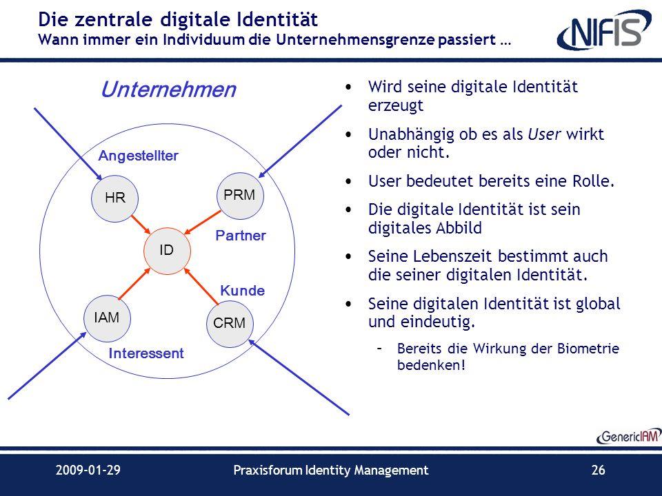 2009-01-29Praxisforum Identity Management26 Die zentrale digitale Identität Wann immer ein Individuum die Unternehmensgrenze passiert … Wird seine dig