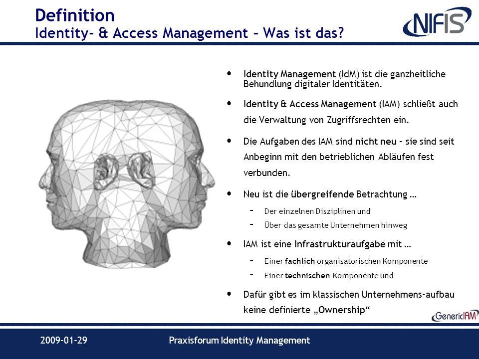 2009-01-29Praxisforum Identity Management Definition Identity- & Access Management – Was ist das? Identity Management (IdM) ist die ganzheitliche Behu