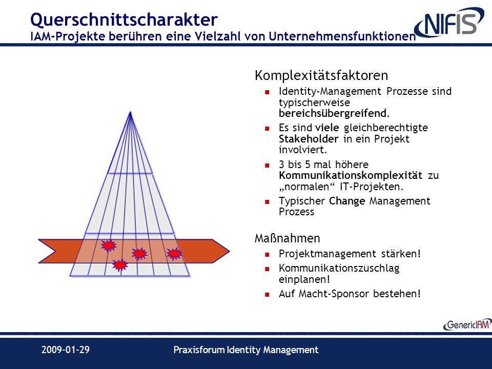 2009-01-29Praxisforum Identity Management Querschnittscharakter IAM-Projekte berühren eine Vielzahl von Unternehmensfunktionen Komplexitätsfaktoren Id