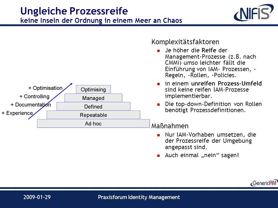 2009-01-29Praxisforum Identity Management Ungleiche Prozessreife keine Inseln der Ordnung in einem Meer an Chaos Komplexitätsfaktoren Je höher die Rei